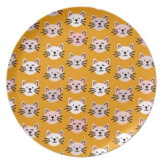 Assiette Motif mignon de chat dans la moutarde jaune