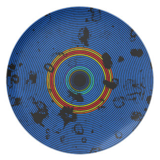 Assiette Motif multicolore de texture de disque de vinyle