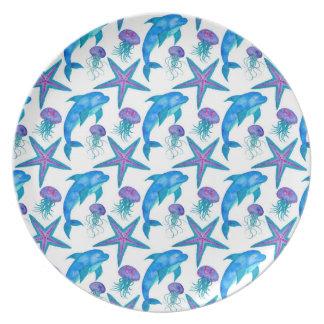 Assiette Motif tiré par la main de dauphins