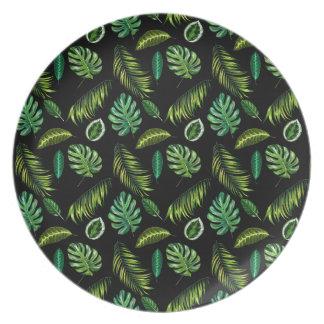 Assiette Motif tropical Tiki floral fait main de feuille