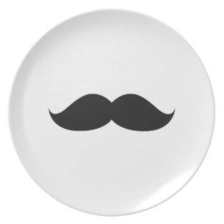 Assiette Moustache noire drôle mignonne