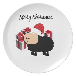 Assiette Noël mignon drôle de moutons de bande dessinée de