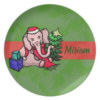 Assiette Noël personnalisé d'éléphant de Père Noël de bande