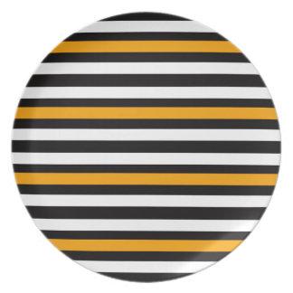 Assiette Noir horizontal avec l'orange