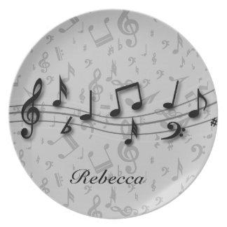 Assiette Notes musicales noires et grises personnalisées