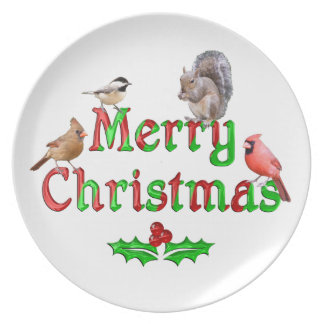 Assiette Oiseaux et écureuil de Joyeux Noël