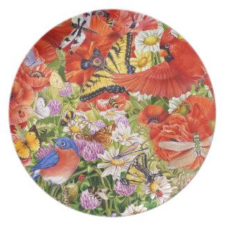 Assiette Oiseaux, papillons et plat de mélamine d'abeilles