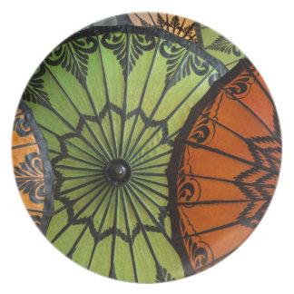 Assiette parasols à vendre, bagan, myanmar