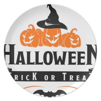 Assiette Partie de des bonbons ou un sort de Halloween