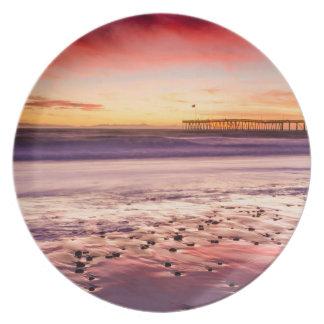 Assiette Paysage marin et pilier au coucher du soleil, CA