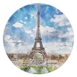 Assiette Paysage urbain Paris, Eiffel d'aquarelle vers