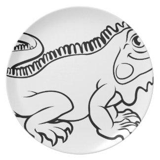 Assiette Personnage de dessin animé de lézard d'iguane