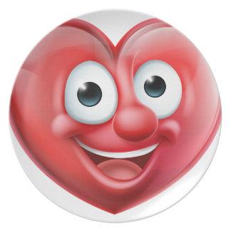 Assiette Personnage de dessin animé d'homme de coeur
