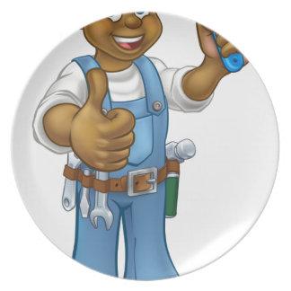 Assiette Personnage de dessin animé noir de décorateur de