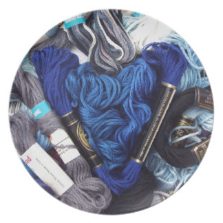 Assiette Photographie mignonne de coeur bleu coloré de