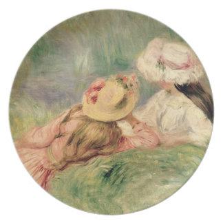 Assiette Pierre jeunes filles de Renoir un | sur la berge