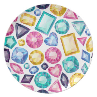 Assiette Pierres gemmes brillantes Girly chics de diamant