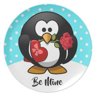 Assiette Pingouin de Valentine avec du chocolat et le