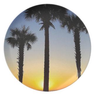 Assiette Plage de ciel de palmier d'aube d'aube de lever de