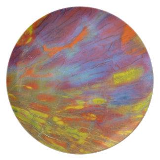 Assiette Plan rapproché coloré en bois Petrified