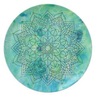 Assiette Plat abstrait de mandala de Monoprint de turquoise