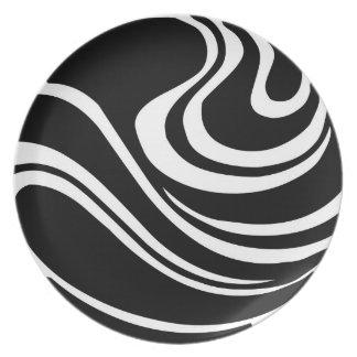 Assiette Plat abstrait noir et blanc simple de mélamine