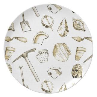 Assiette Plat archéologique de mélamine de fragments