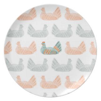 Assiette Plat avec le vert et l'orange de motif de poulets