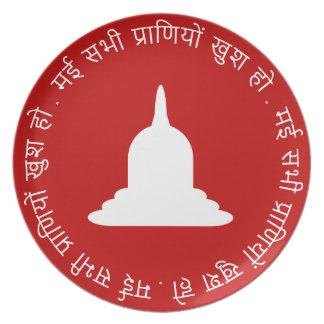 Assiette Plat blanc de mélamine de Stupa - texte de Hindi