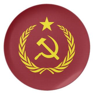 Assiette Plat communiste de mélamine de drapeau de guerre