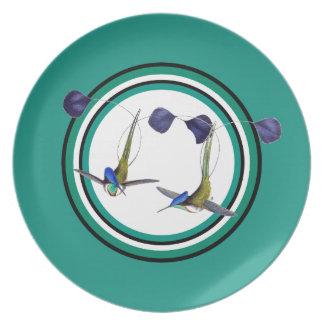 Assiette plat d'animal de faune d'oiseau de colibri de