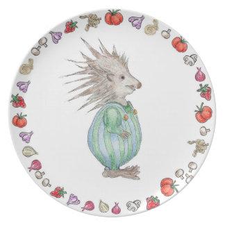 Assiette Plat d'anniversaire de mélamine de hérisson de