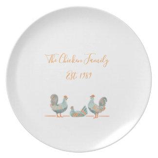Assiette Plat de famille de poulet - personnalisable
