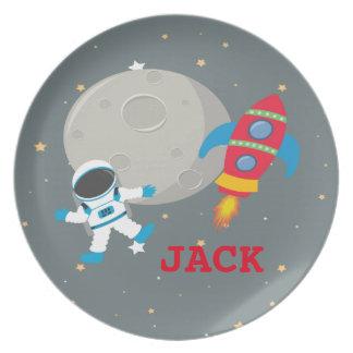 Assiette Plat de la mélamine des enfants d'astronaute