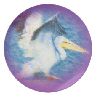 Assiette plat de l'aquarelle pelican17