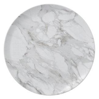 Assiette Plat de marbre blanc de mélamine