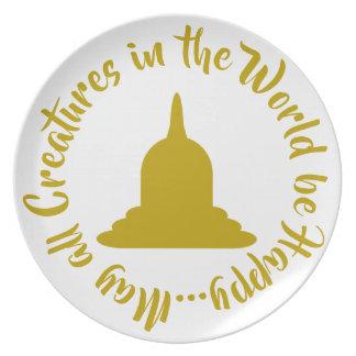 Assiette Plat de mélamine de Stupa d'or