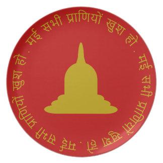 Assiette Plat de mélamine de Stupa d'or - texte de Hindi