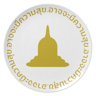 Assiette Plat de mélamine de Stupa d'or - texte thaïlandais