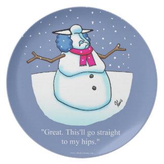 Assiette Plat drôle de biscuit d'humour de neige d'hiver