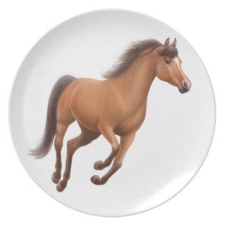 Assiette Plat galopant de cheval de pur sang