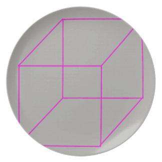Assiette Plat géométrique de forme (rose)