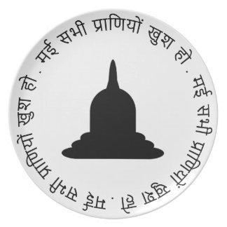 Assiette Plat noir de mélamine de Stupa - texte de Hindi