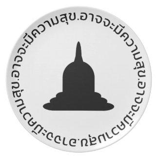 Assiette Plat noir de mélamine de Stupa - texte thaïlandais
