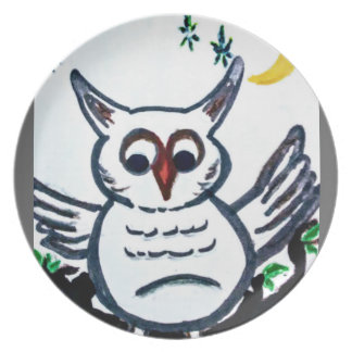 Assiette plat original d'image de hibou