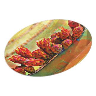 Assiette Plat peint de mélamine de cactus de tuyau de