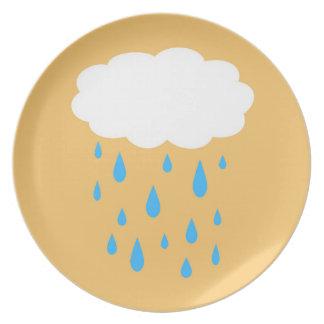 Assiette Plat pluvieux de nuage