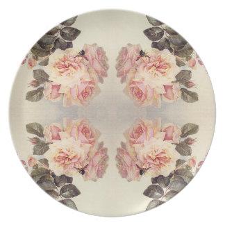 Assiette Plat rose de fleurs de chou rose vintage