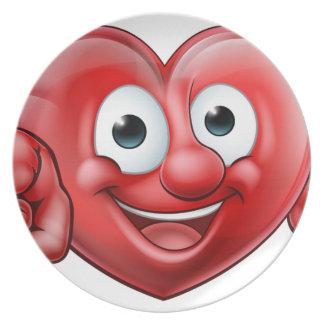 Assiette Pointage du personnage de dessin animé de coeur