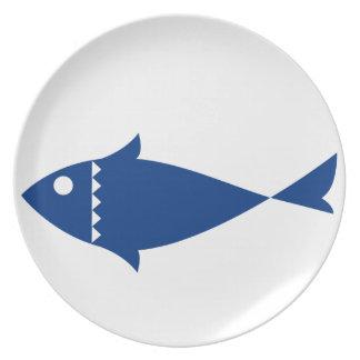 Assiette Poissons bleus